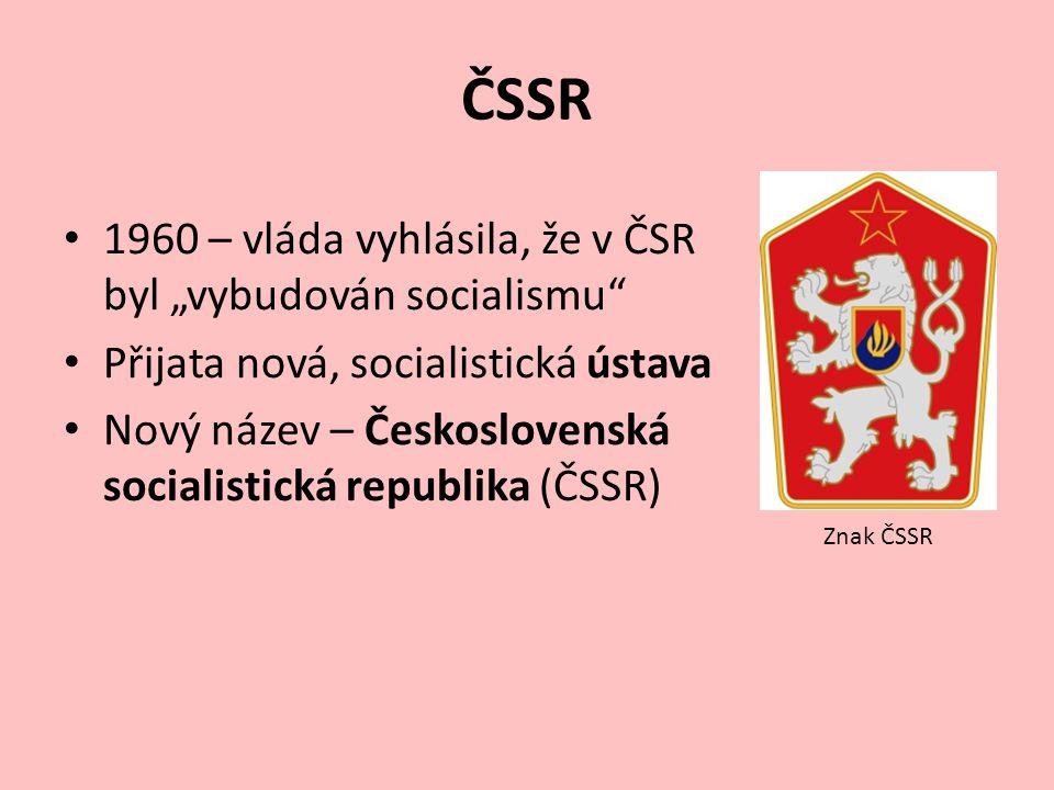 """ČSSR 1960 – vláda vyhlásila, že v ČSR byl """"vybudován socialismu"""