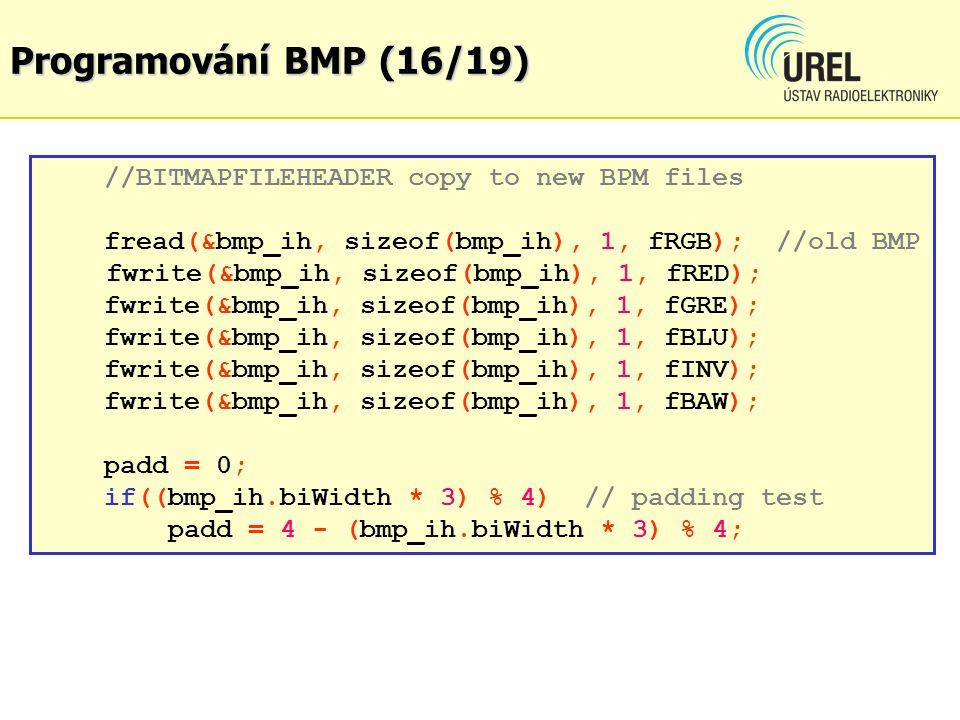 Programování BMP (16/19) //BITMAPFILEHEADER copy to new BPM files