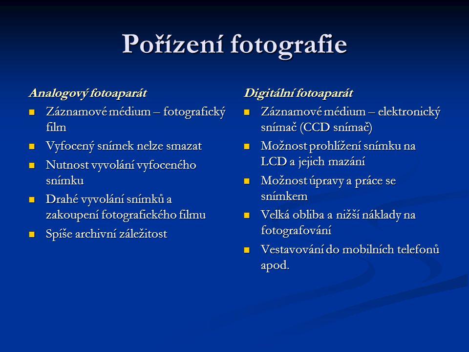 Pořízení fotografie Analogový fotoaparát