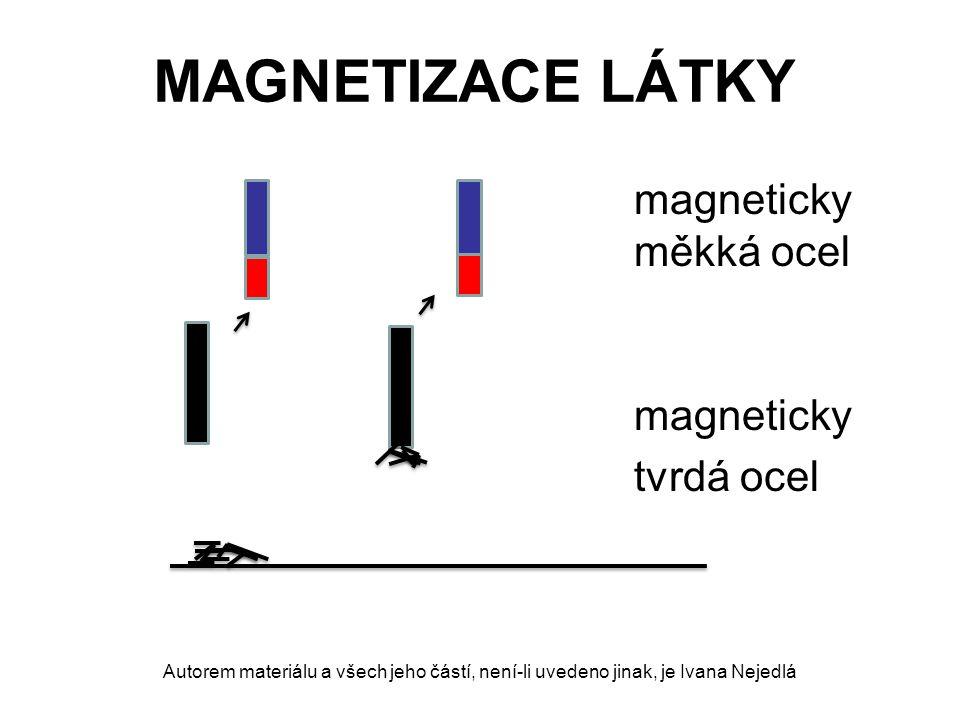 MAGNETIZACE LÁTKY magneticky měkká ocel magneticky tvrdá ocel