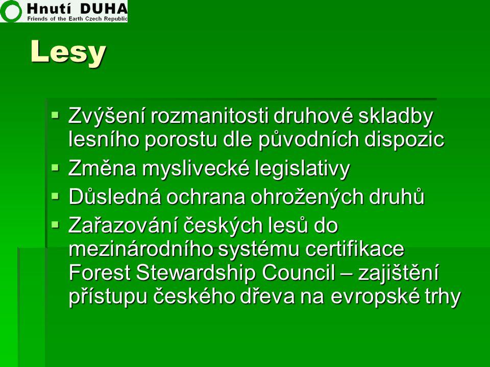 Lesy Zvýšení rozmanitosti druhové skladby lesního porostu dle původních dispozic. Změna myslivecké legislativy.