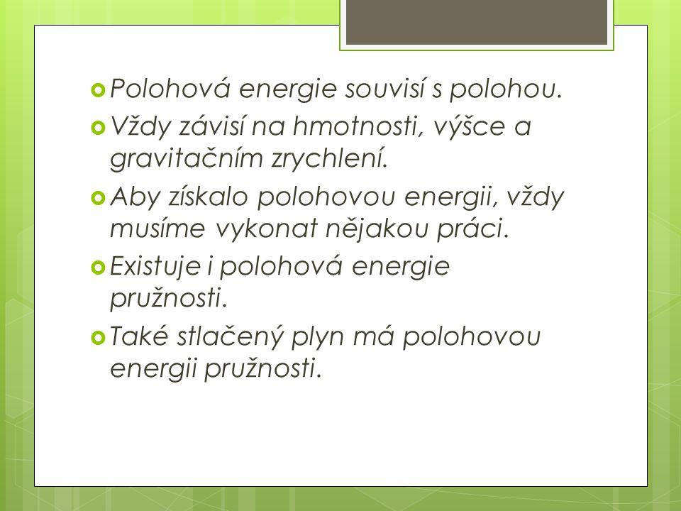 Polohová energie souvisí s polohou.