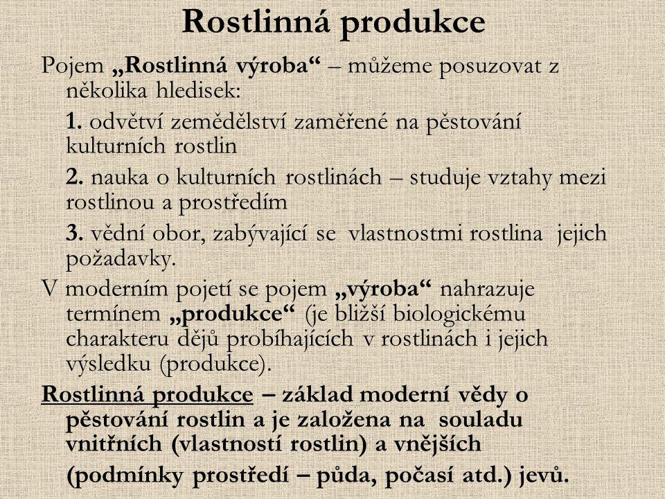 """Rostlinná produkce Pojem """"Rostlinná výroba – můžeme posuzovat z několika hledisek: 1. odvětví zemědělství zaměřené na pěstování kulturních rostlin."""