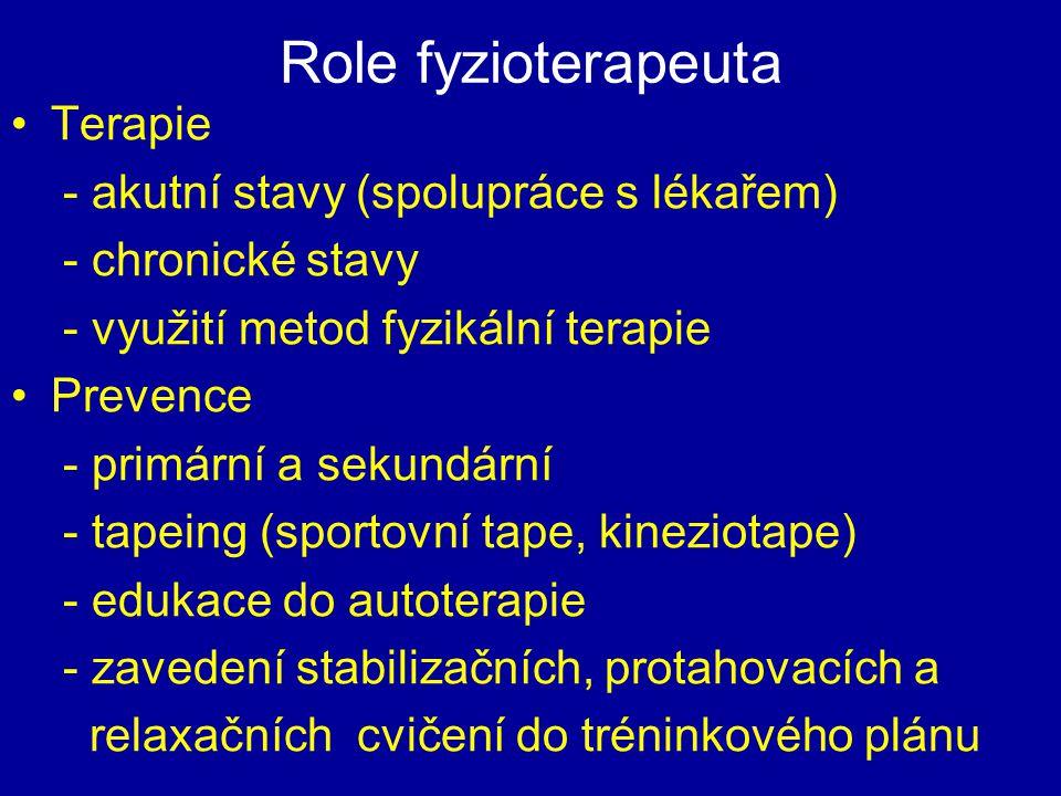 Role fyzioterapeuta Terapie - akutní stavy (spolupráce s lékařem)