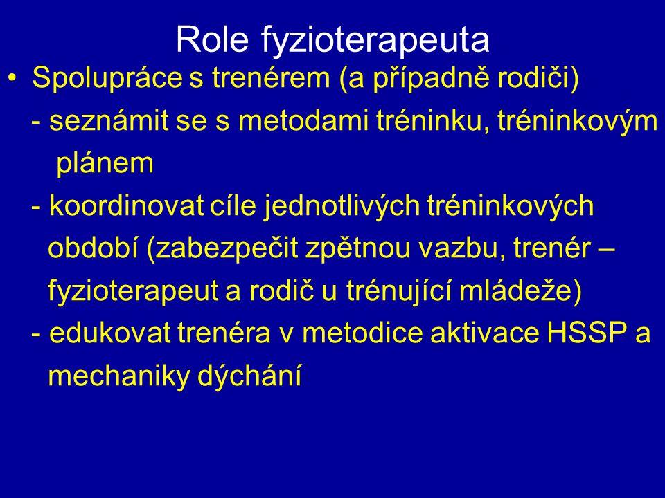 Role fyzioterapeuta Spolupráce s trenérem (a případně rodiči)