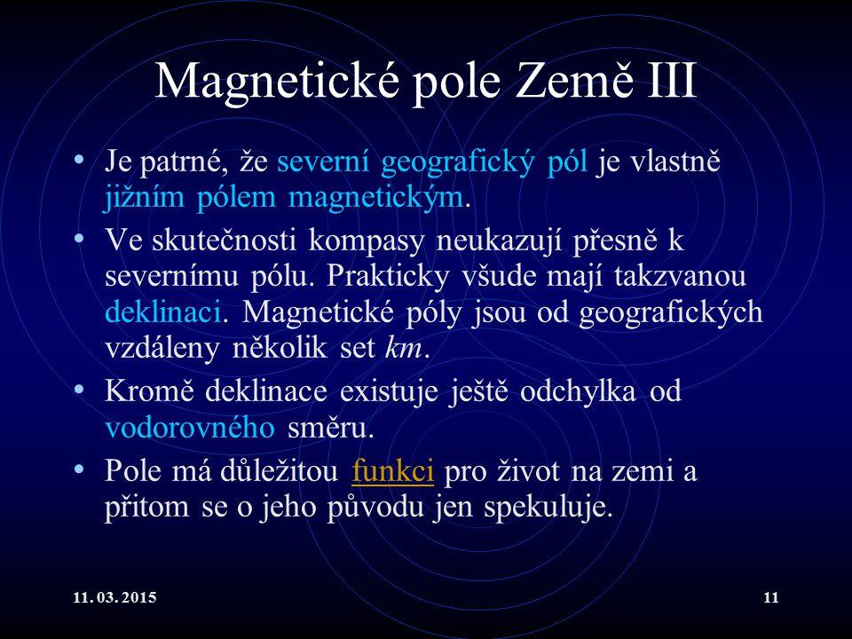 Magnetické pole Země III