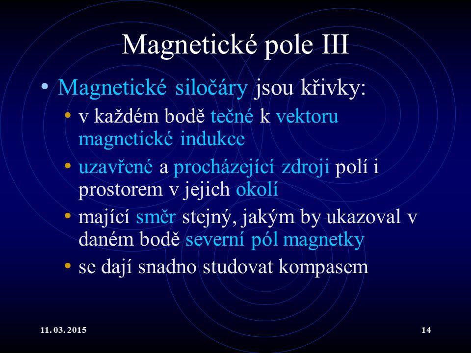 Magnetické pole III Magnetické siločáry jsou křivky: