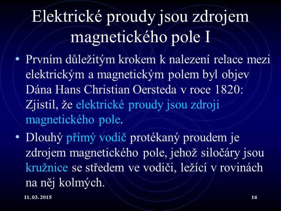 Elektrické proudy jsou zdrojem magnetického pole I