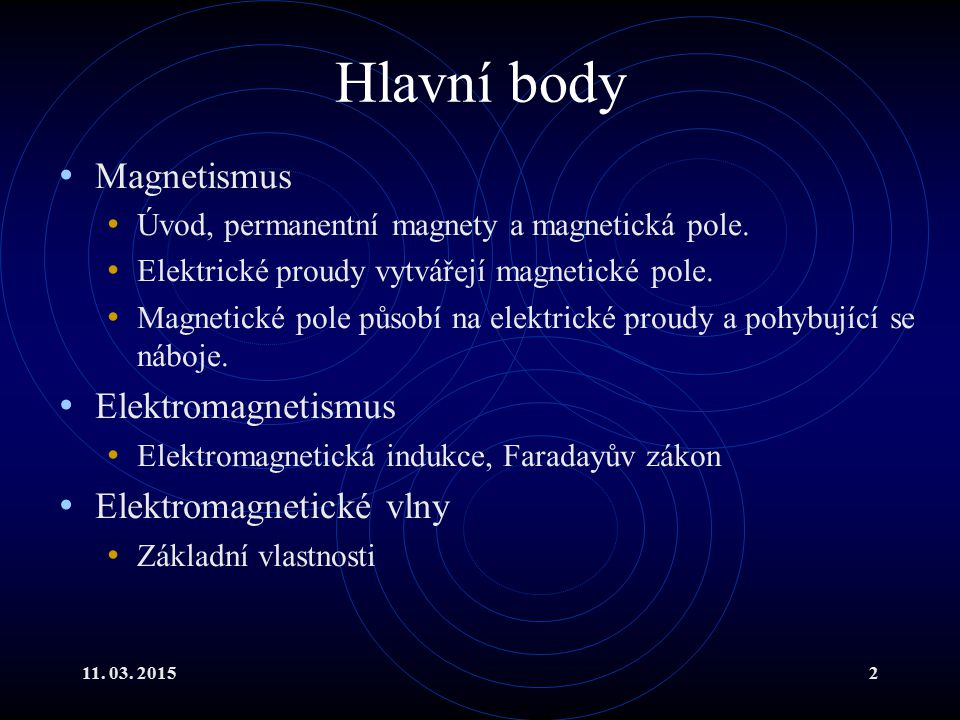 Hlavní body Magnetismus Elektromagnetismus Elektromagnetické vlny