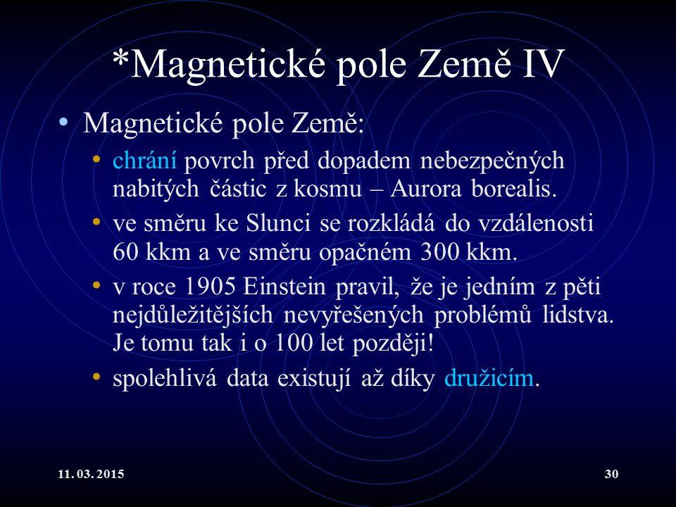*Magnetické pole Země IV