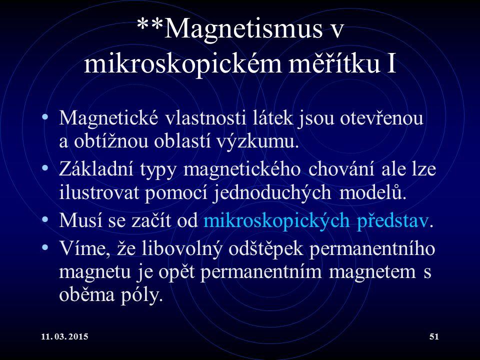 **Magnetismus v mikroskopickém měřítku I