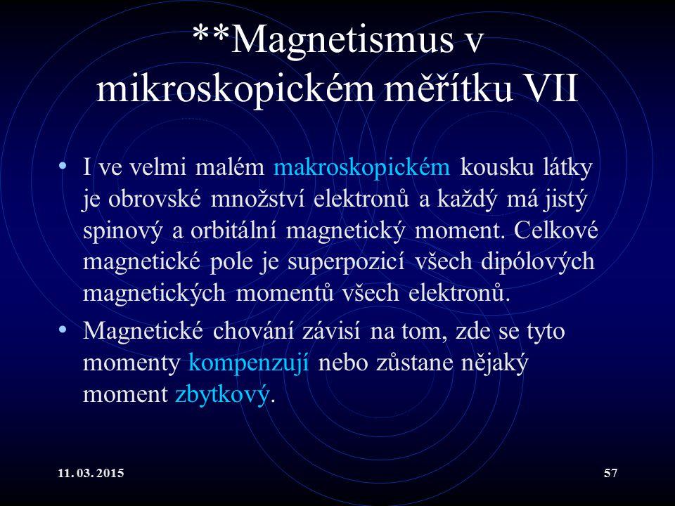 **Magnetismus v mikroskopickém měřítku VII