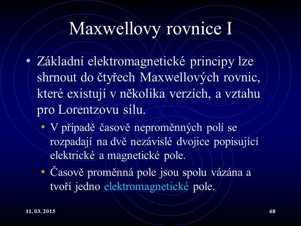Maxwellovy rovnice I