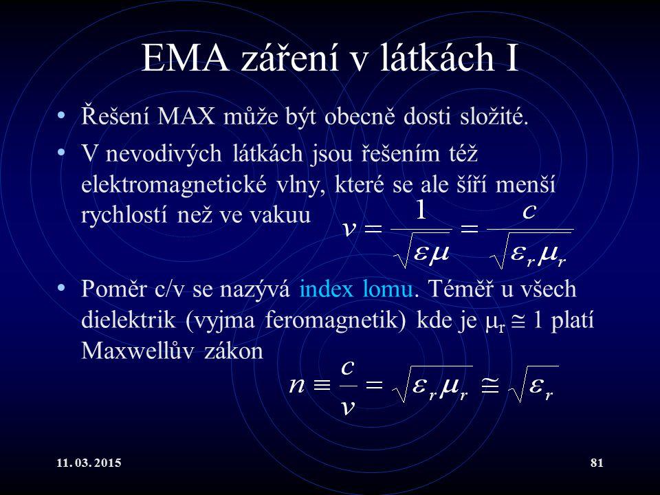 EMA záření v látkách I Řešení MAX může být obecně dosti složité.