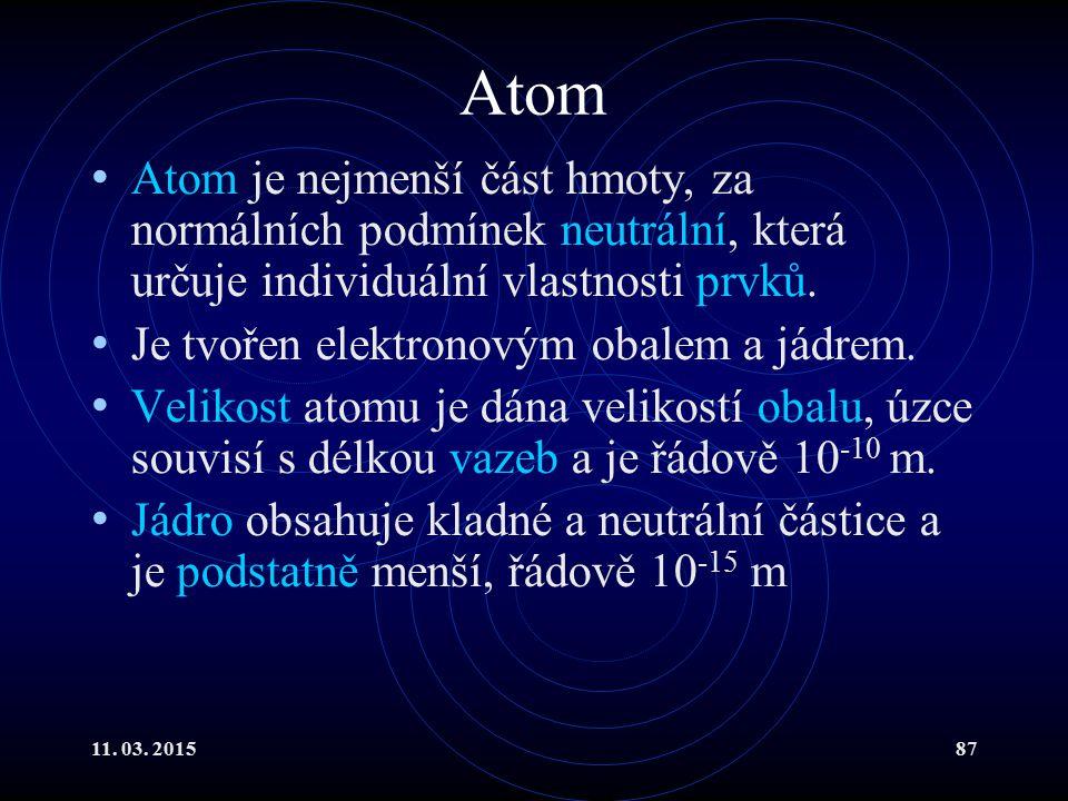 Atom Atom je nejmenší část hmoty, za normálních podmínek neutrální, která určuje individuální vlastnosti prvků.