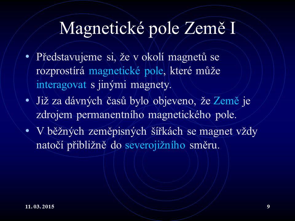 Magnetické pole Země I Představujeme si, že v okolí magnetů se rozprostírá magnetické pole, které může interagovat s jinými magnety.