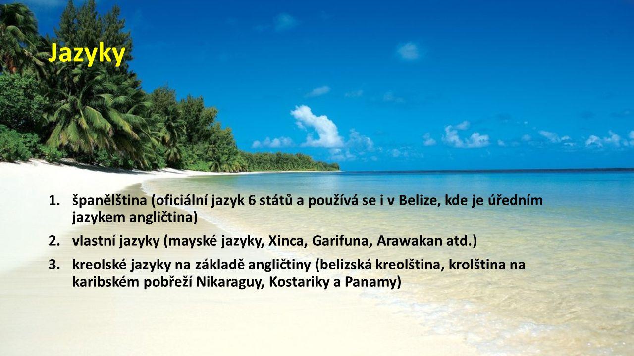 Jazyky španělština (oficiální jazyk 6 států a používá se i v Belize, kde je úředním jazykem angličtina)