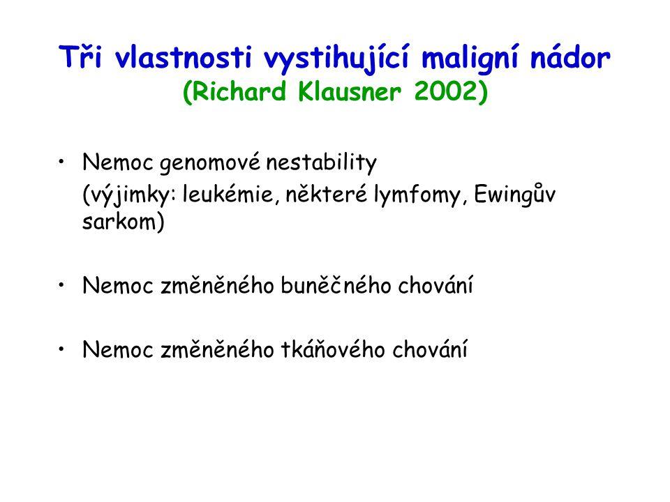 Tři vlastnosti vystihující maligní nádor (Richard Klausner 2002)