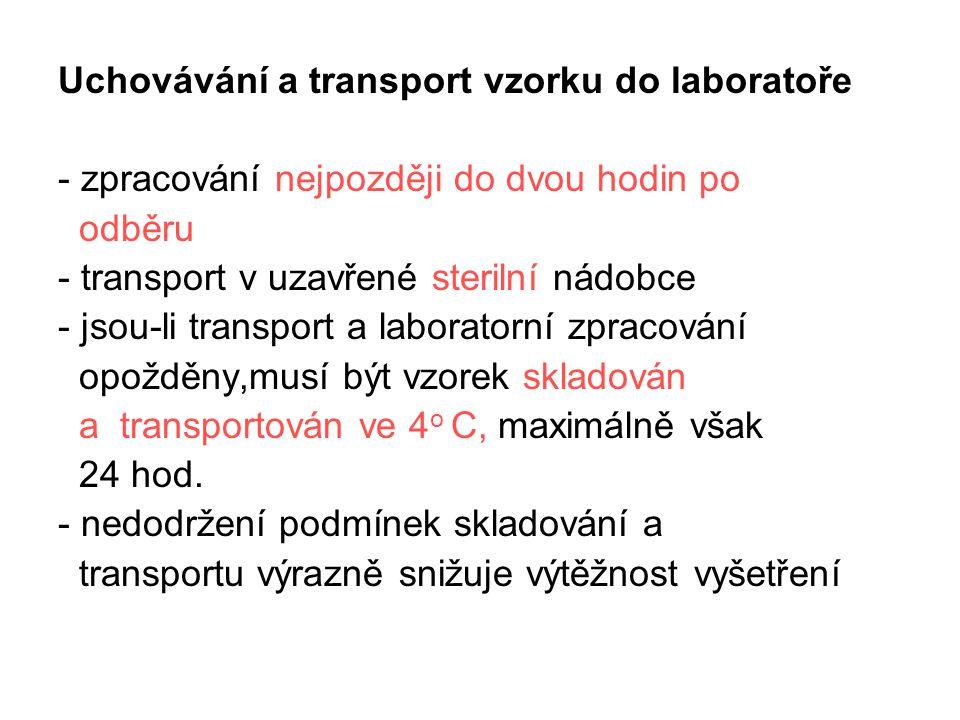 Uchovávání a transport vzorku do laboratoře