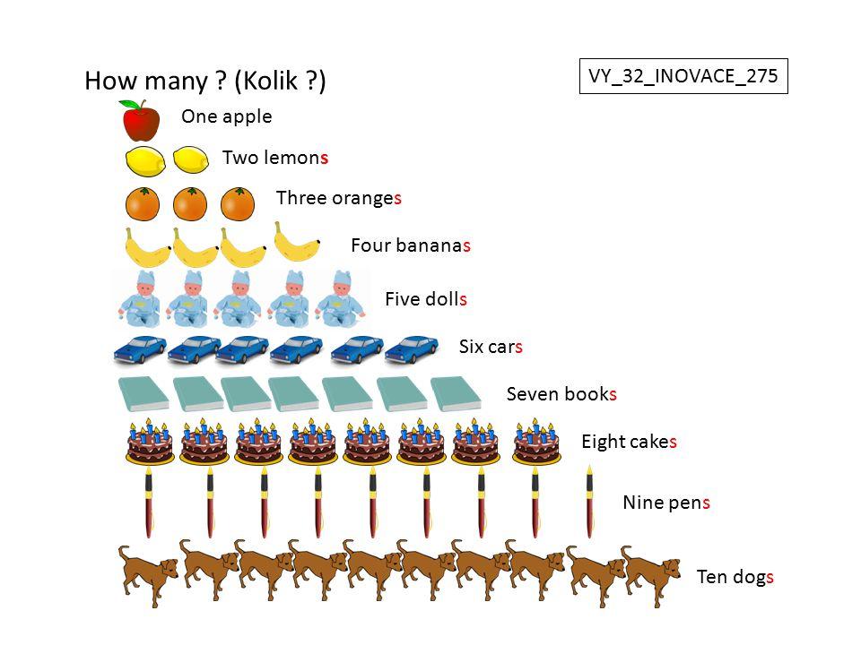 How many (Kolik ) VY_32_INOVACE_275 One apple Two lemons