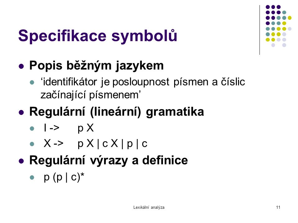 Specifikace symbolů Popis běžným jazykem