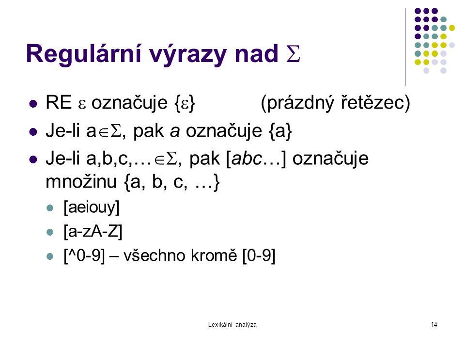 Regulární výrazy nad  RE  označuje {} (prázdný řetězec)