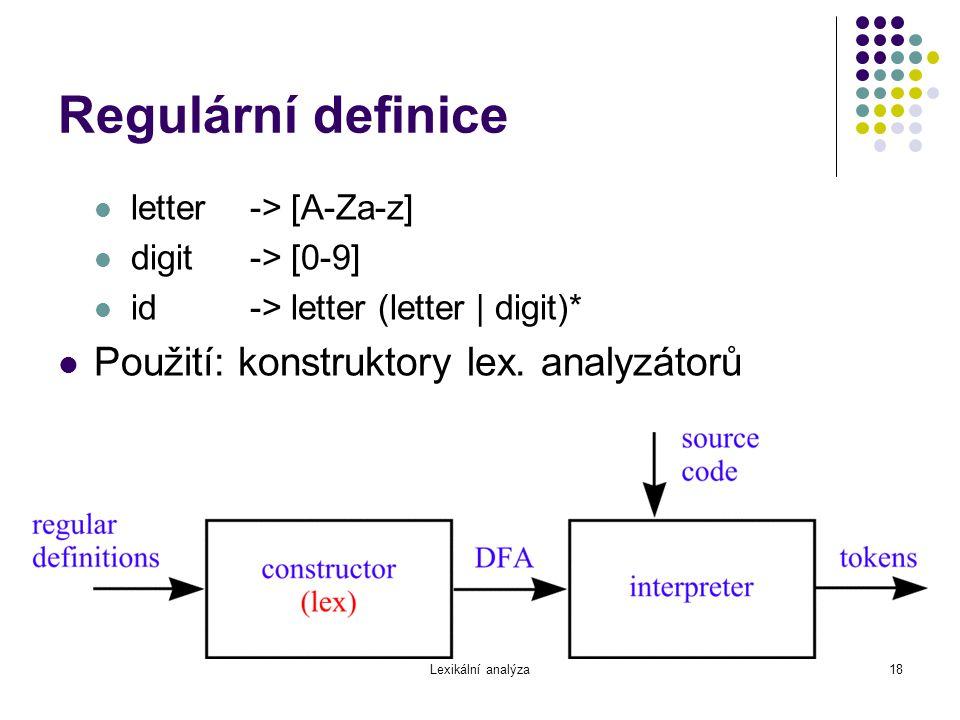 Regulární definice Použití: konstruktory lex. analyzátorů