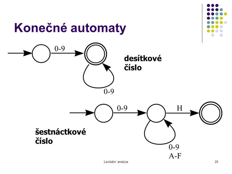 Konečné automaty desítkové číslo šestnáctkové číslo Lexikální analýza