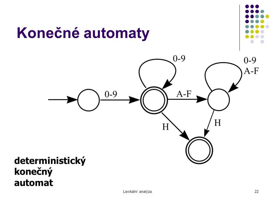 Konečné automaty deterministický konečný automat Lexikální analýza
