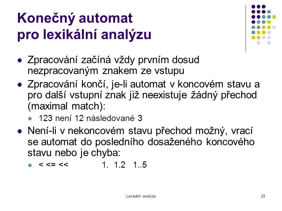 Konečný automat pro lexikální analýzu