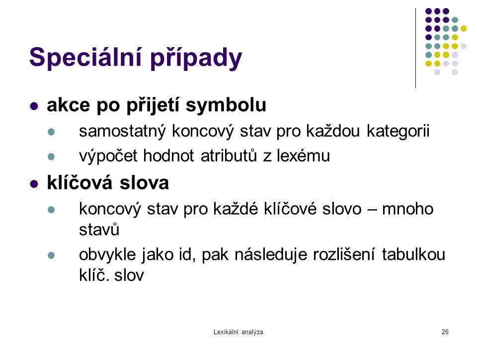 Speciální případy akce po přijetí symbolu klíčová slova