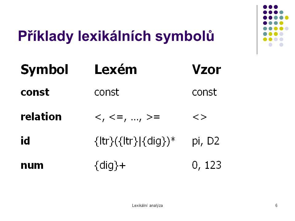Příklady lexikálních symbolů