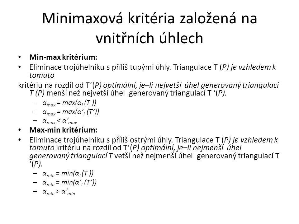 Minimaxová kritéria založená na vnitřních úhlech