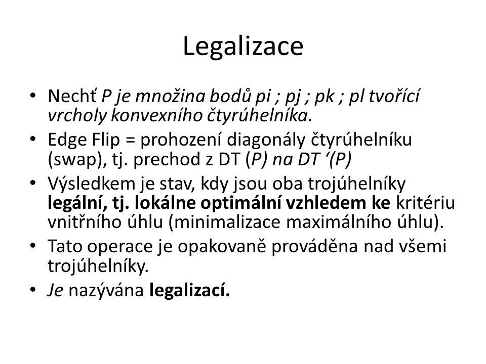 Legalizace Nechť P je množina bodů pi ; pj ; pk ; pl tvořící vrcholy konvexního čtyrúhelníka.