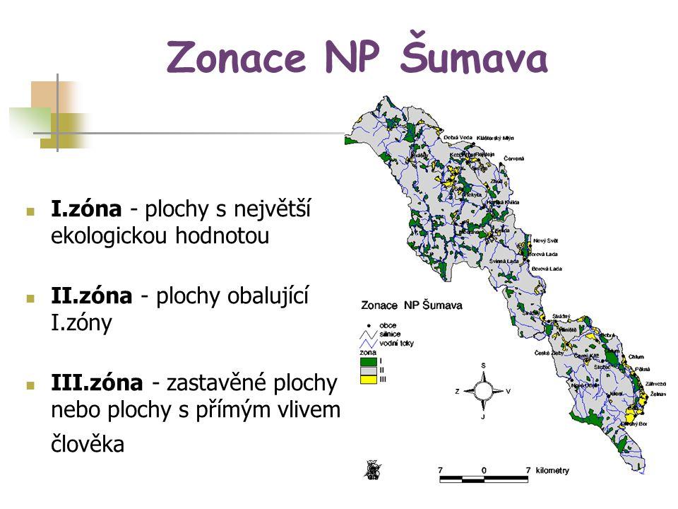 Zonace NP Šumava I.zóna - plochy s největší ekologickou hodnotou