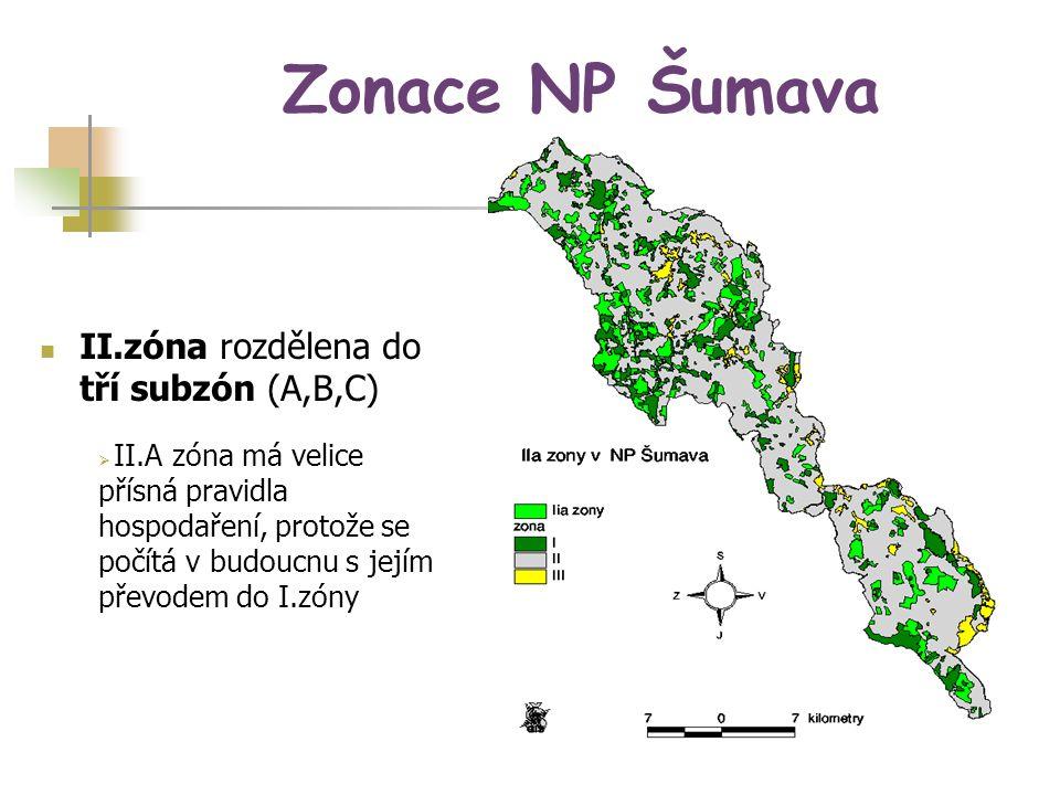 Zonace NP Šumava II.zóna rozdělena do tří subzón (A,B,C)
