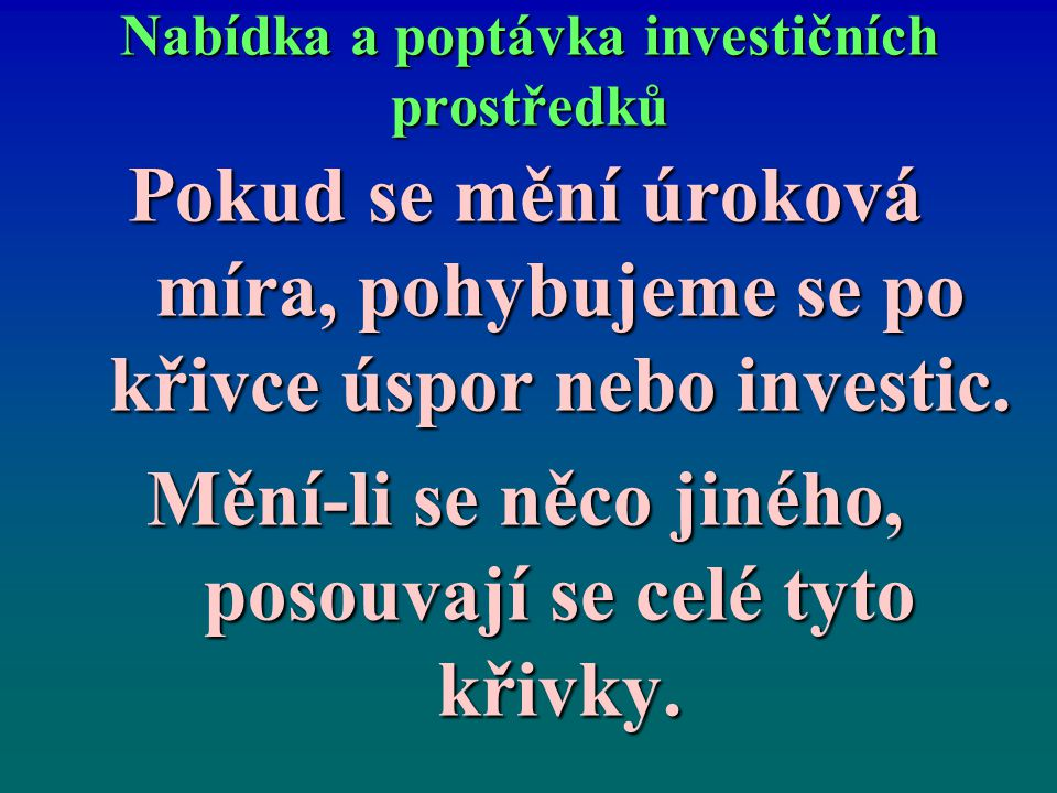 Nabídka a poptávka investičních prostředků