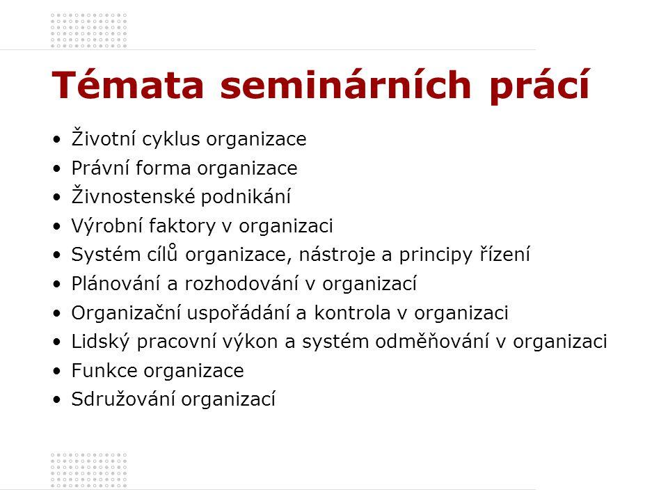 Témata seminárních prácí