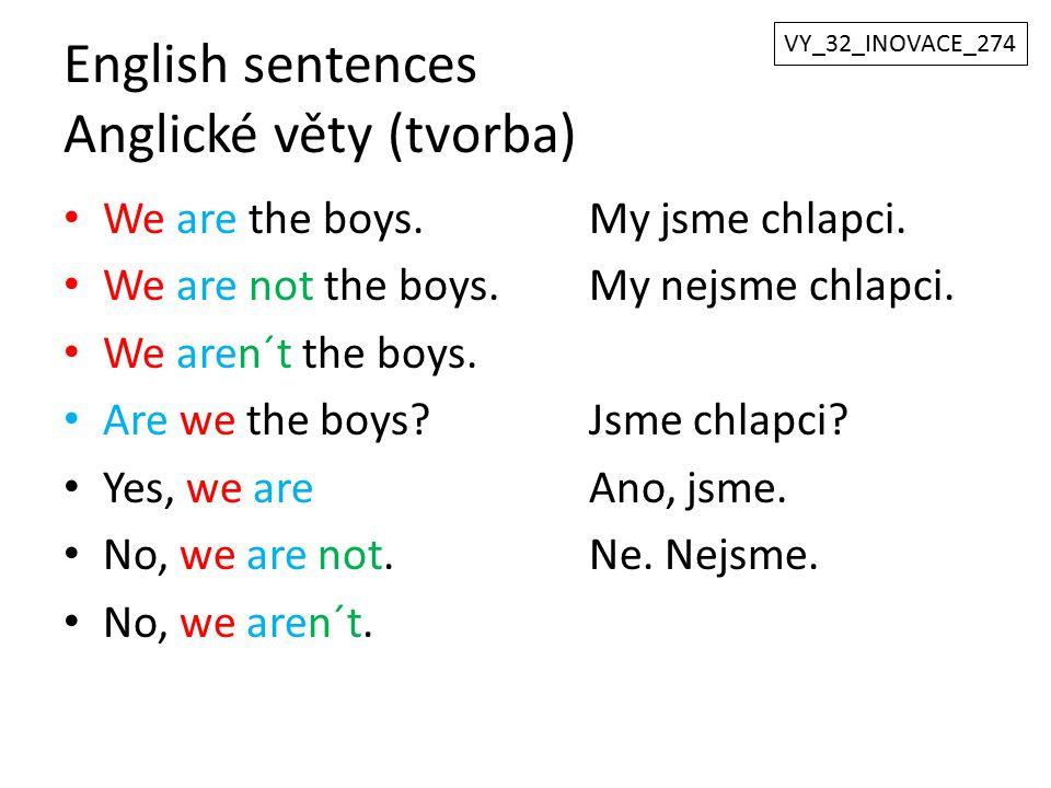 English sentences Anglické věty (tvorba)