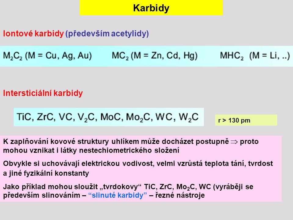 Karbidy Iontové karbidy (především acetylidy) Intersticiální karbidy