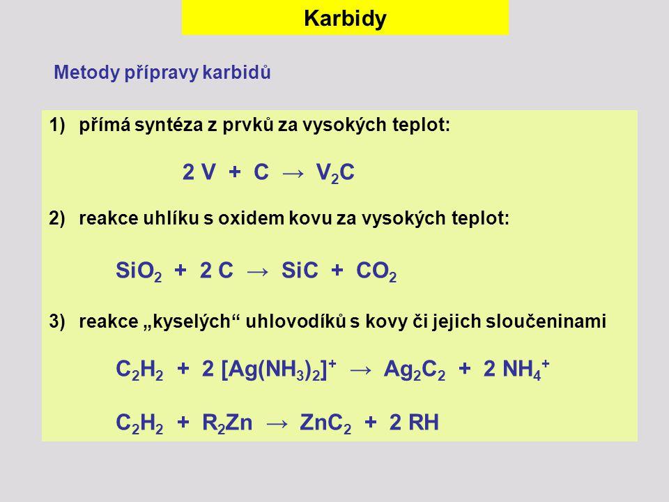 Karbidy 2 V + C → V2C SiO2 + 2 C → SiC + CO2 Metody přípravy karbidů