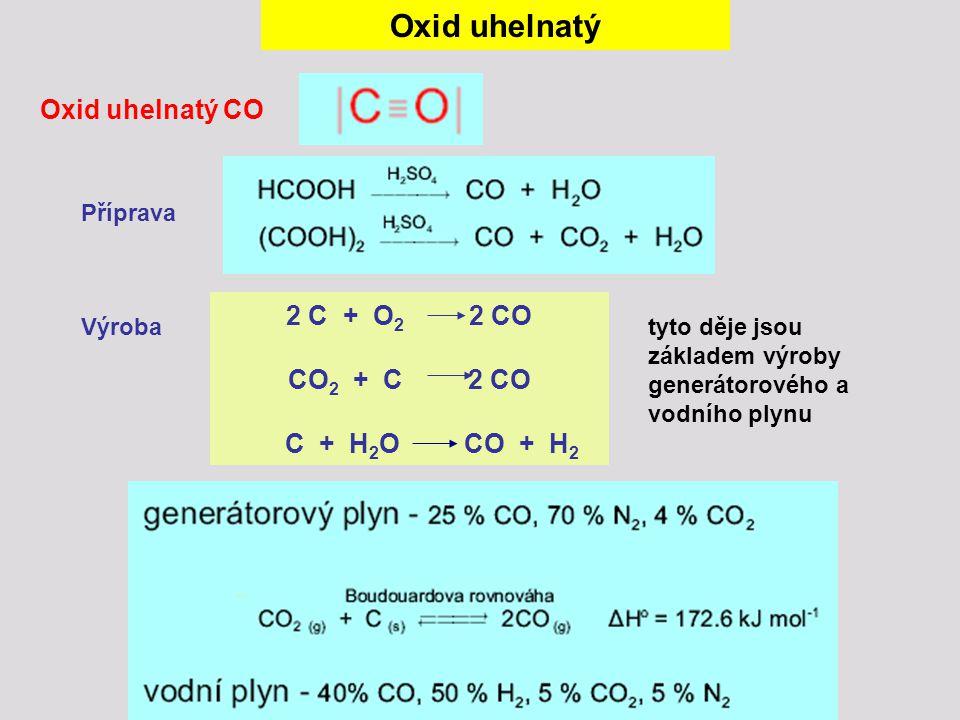 Oxid uhelnatý Oxid uhelnatý CO 2 C + O2 2 CO CO2 + C 2 CO