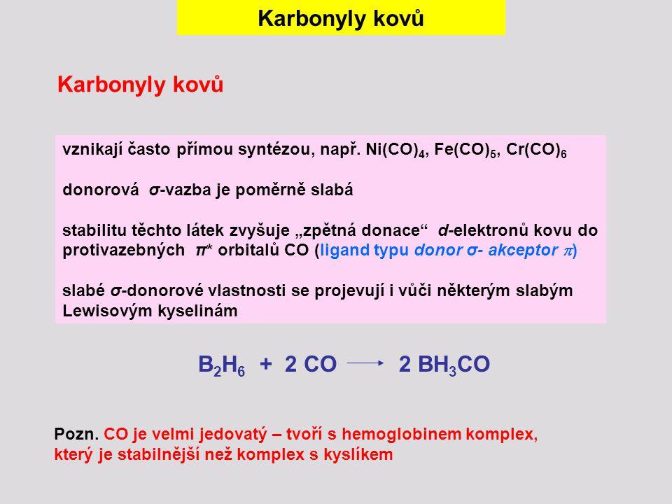 Karbonyly kovů B2H6 + 2 CO 2 BH3CO
