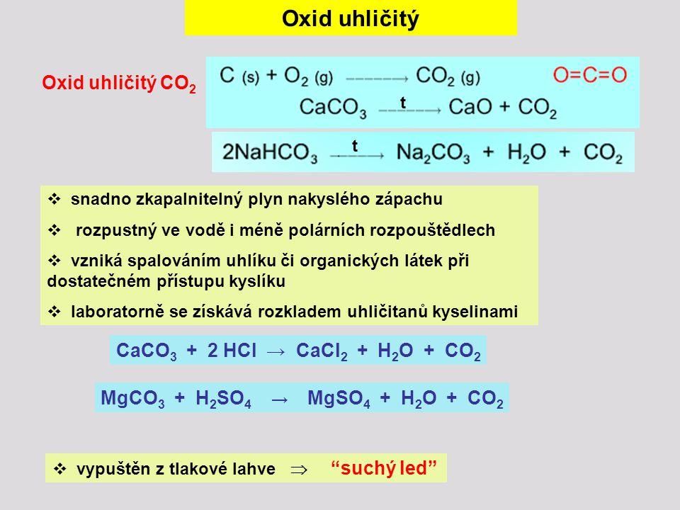 Oxid uhličitý Oxid uhličitý CO2 CaCO3 + 2 HCl → CaCl2 + H2O + CO2