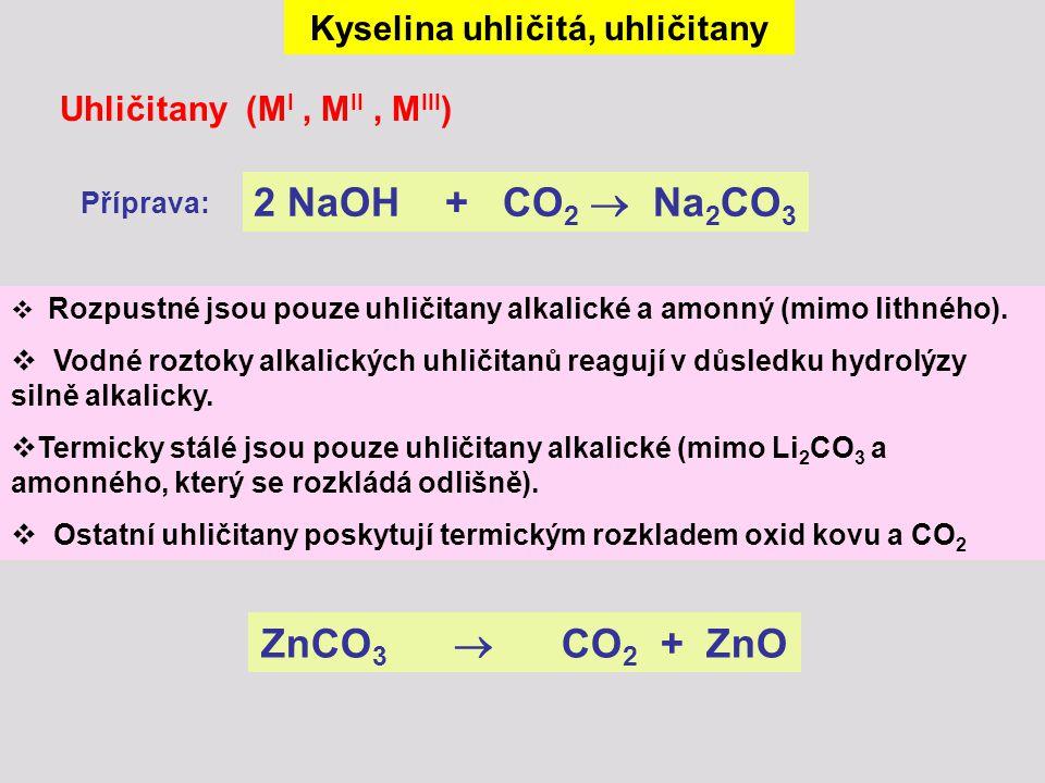 Kyselina uhličitá, uhličitany