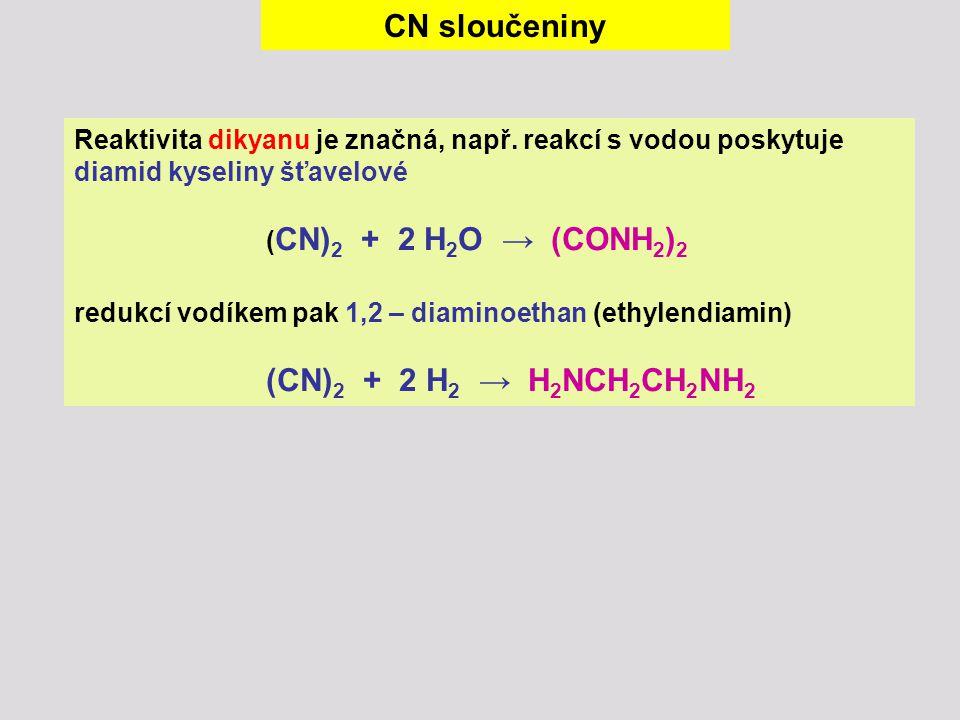 CN sloučeniny Reaktivita dikyanu je značná, např. reakcí s vodou poskytuje diamid kyseliny šťavelové.
