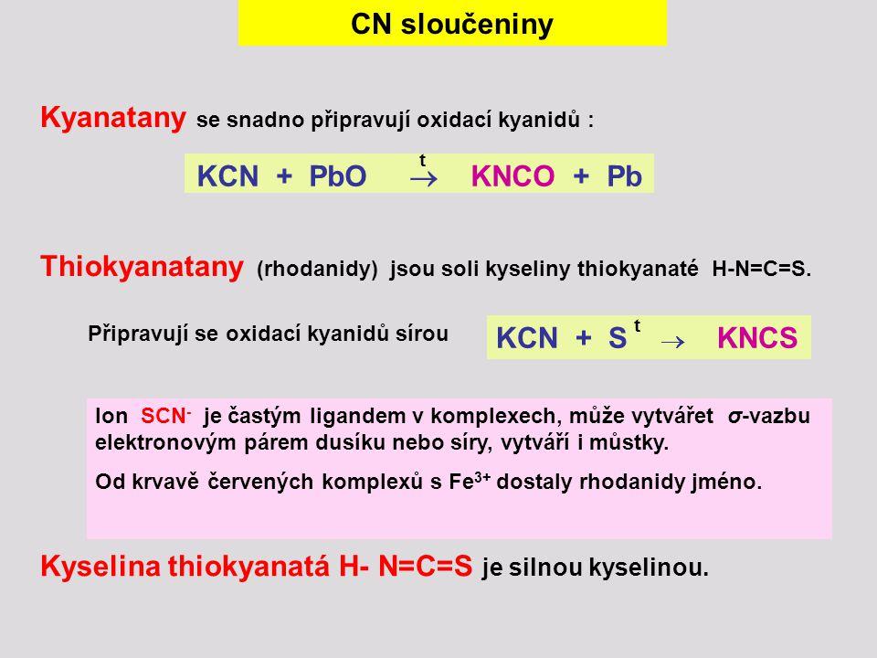 CN sloučeniny KCN + PbO  KNCO + Pb