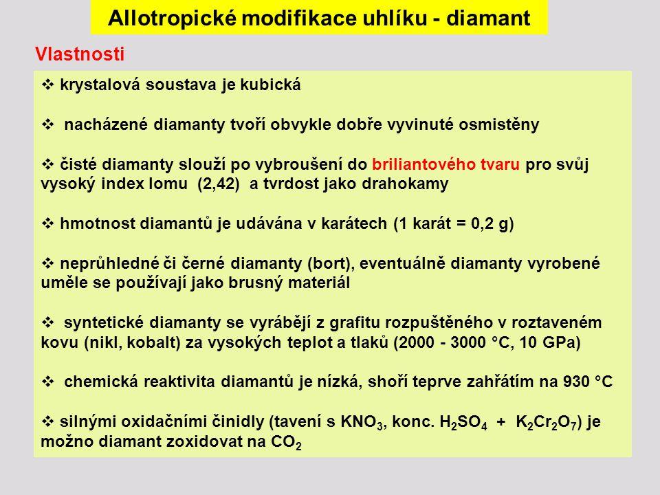 Allotropické modifikace uhlíku - diamant