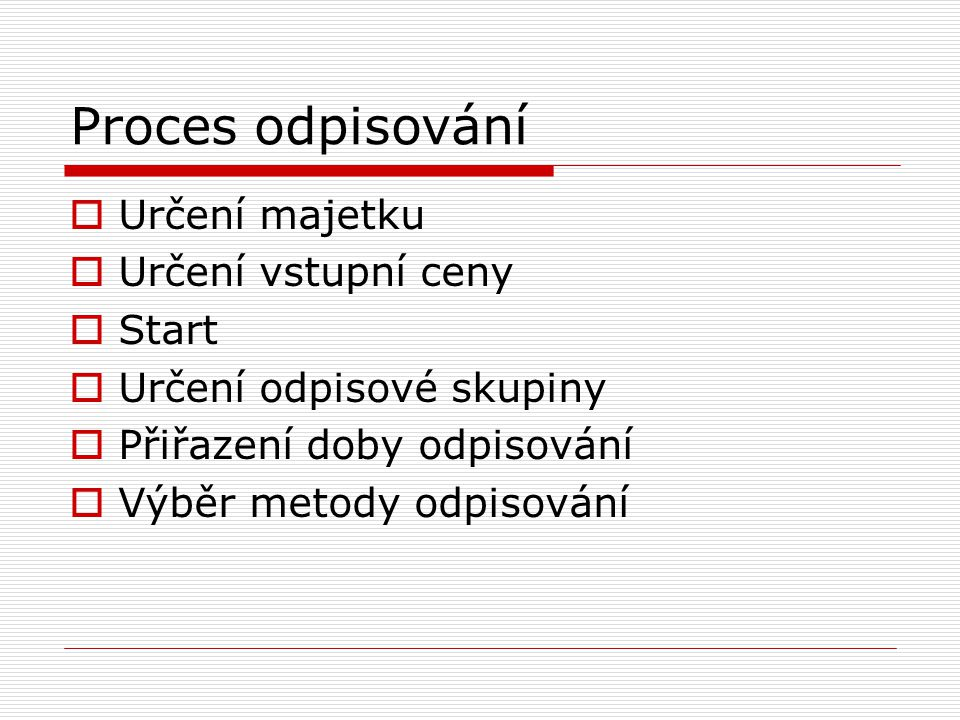 Proces odpisování Určení majetku Určení vstupní ceny Start