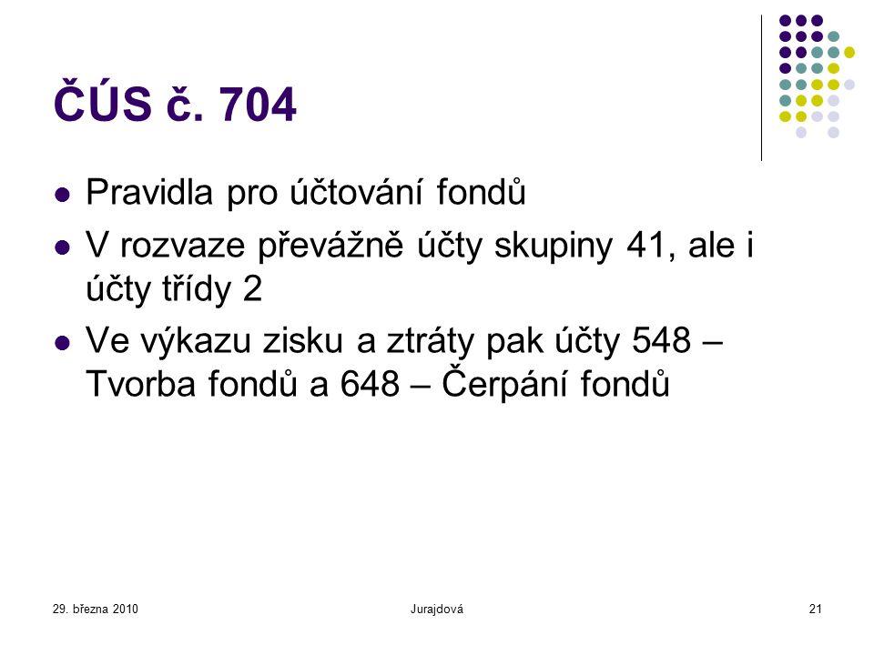 ČÚS č. 704 Pravidla pro účtování fondů